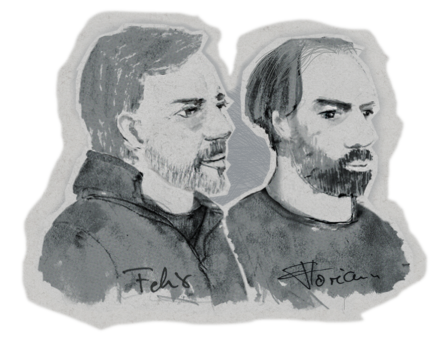 Felix and Florian Gilcher portrait sketch